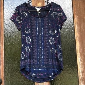 Lucky Brand, Boho Printed Crew Neck Casual T-Shirt